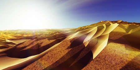 Dunes sunset over the desert. 3d rendering illustration