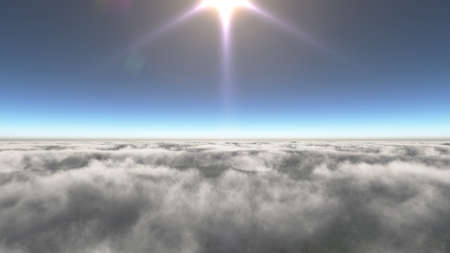 Above clouds sun ray, 3d rendering illustration Foto de archivo