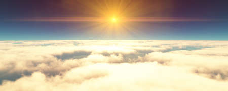 fly above clouds sunset landscape. 3d render illustration