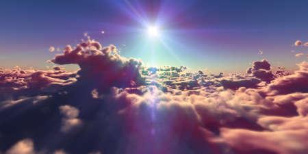 fly above clouds sunset landscape, 3d render illustration