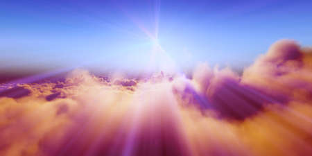 Beautiful aerial view above clouds with sunset. 3d illustration Foto de archivo
