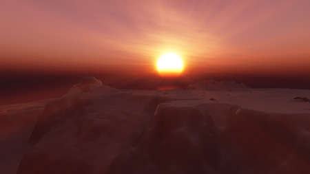 ice berg sunset in ocean 3d rendering illustration Foto de archivo