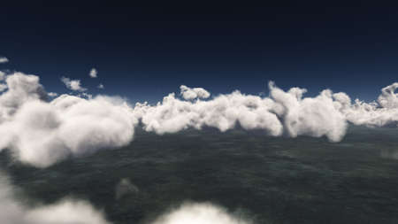 fly above big clouds, sun ray, 3d illustration render