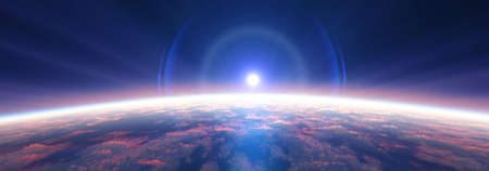 Earth sunrise from space over cloudy ocean. 3d rendering illustration