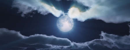 full moon at night cloud sky, 3d render illustration Foto de archivo