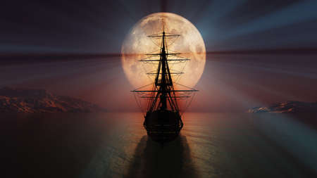 old ship in the night full moon 3d render illustration Foto de archivo