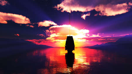 old ship at sea sunset, 3d render illustration Foto de archivo