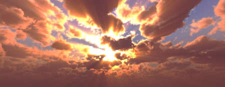 Sunset / sunrise with clouds, light rays and other atmospheric effect, 3d illustration Foto de archivo