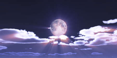 full moon at night night sky, illustration 3d render Foto de archivo