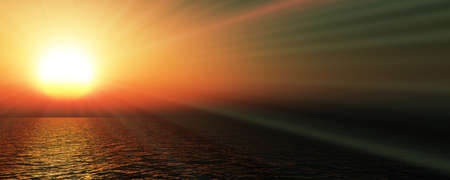 sunset sea sun ray clear sky, 3d rendering illustration Foto de archivo