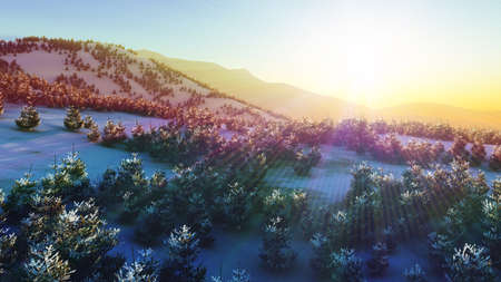 above winter forest mountain sunset 3D rendering illustration Foto de archivo