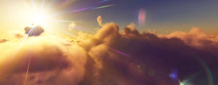above clouds fly sunset sun ray illustration, 3d render Foto de archivo