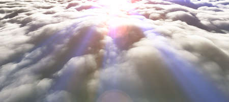 above clouds sun ray 3d render illustration Foto de archivo