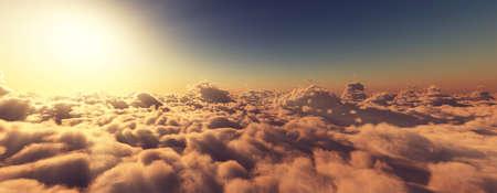 above clouds fly sunset sun ray illustration, 3d render Foto de archivo