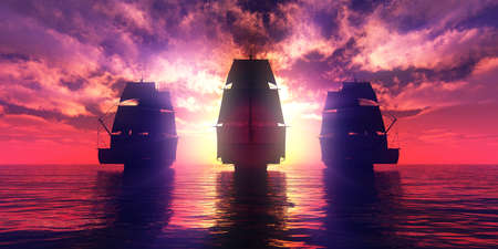 old three ships sunset at sea, 3d rendering illustration