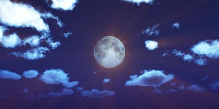 full moon at night night sky, illustration 3d render Foto de archivo