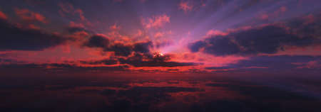 sunset calmly sea sun ray 3d render illustration