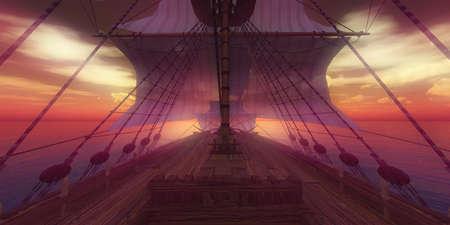 old ship sunset at sea 3d rendering illustration