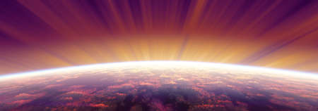 sunrise from space aurora, 3d rendering illustration Foto de archivo