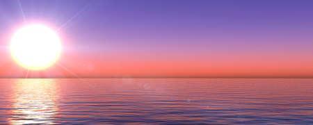sunset sea sun ray clear sky, 3d rendering illustration Foto de archivo