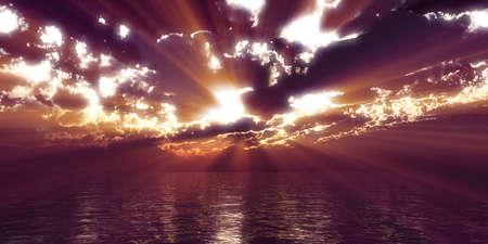 sunset sea sun ray clouds, 3d rendering illustration