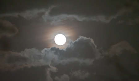 full moon in the sky with clouds landscape