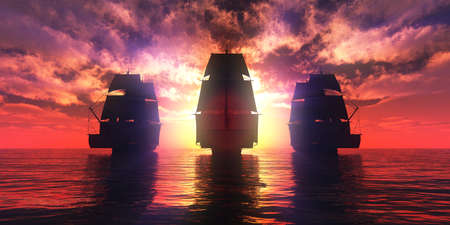 old three ships sunset at sea, 3d rendering illustration Banque d'images