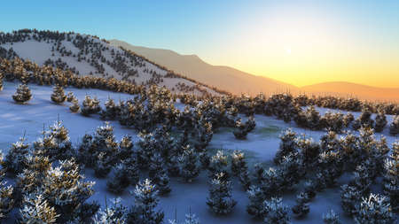 above winter forest mountain sunset 3D rendering illustration Standard-Bild