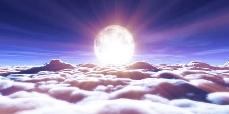 above clouds full moon illustration, 3d rendering