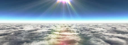 Above clouds sun ray, 3d rendering illustration Standard-Bild