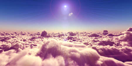 fly above clouds sunset landscape, 3d render illustration