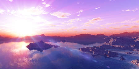 above islands in sea sunset, illustration 3d rendering