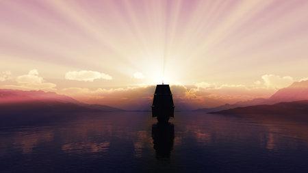 old ship at sea sunset, 3d render illustration Standard-Bild