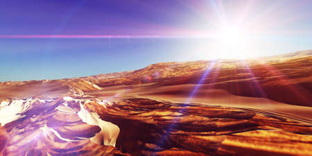 Dunes sunset over the desert. 3d rendering illustration