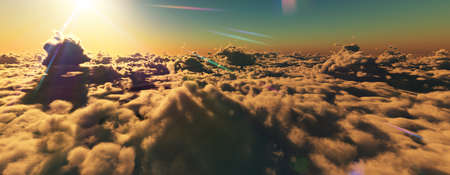 above clouds fly sunset sun ray illustration, 3d render Standard-Bild