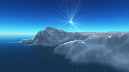 Ice berg on see, 3d render illustration