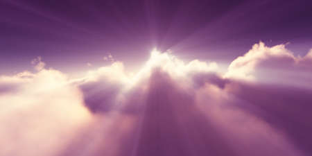 above clouds sunrise sun ray illustration, 3d rendering