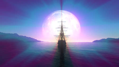 old ship in sea full moon illustration 3d rendering