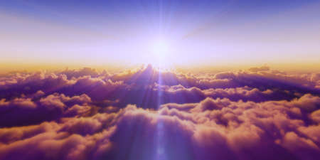 Beautiful aerial view above clouds with sunset. 3d illustration Standard-Bild