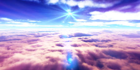 above clouds fly sunset sun ray illustration, 3d render Standard-Bild