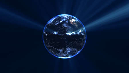 earth globe with glowing details and light rays. 3d illustration render Standard-Bild