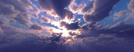Sunset / sunrise with clouds, light rays and other atmospheric effect, 3d illustration Standard-Bild