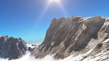 mountain snow sun ray illustration, 3d rendering