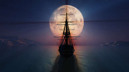 old ship in the night full moon 3d render illustration Standard-Bild