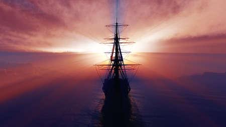 old ship sunset at sea illustration 3d rendering