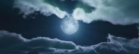 full moon at night cloud sky, 3d render illustration Standard-Bild