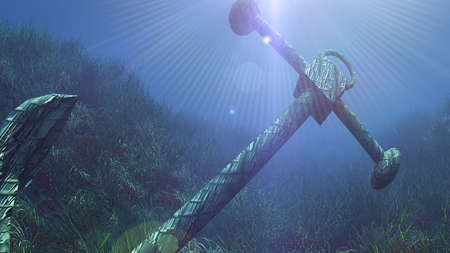 anchor under water sun ray illustration 3d rendering