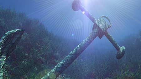 anchor under water sun ray illustration 3d rendering