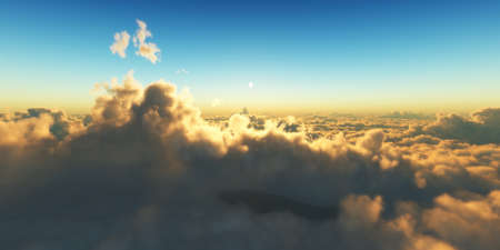Beautiful aerial view above clouds with sunset. 3d illustration Stockfoto