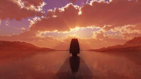 old ship at sea sunset, 3d render illustration Stockfoto